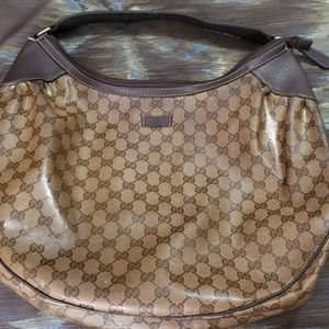 Canvas Signature GG Gucci Hobo Style Handbag